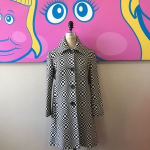 Celine black White Geometric Wool Coat